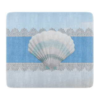 Soft Blue Seashell And Lace Cutting Board
