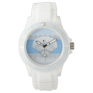 Soft Blue Seashell And Lace Watch