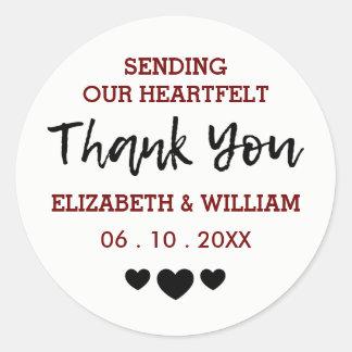Soft Blue White - Hearts Thank You Sticker Wedding