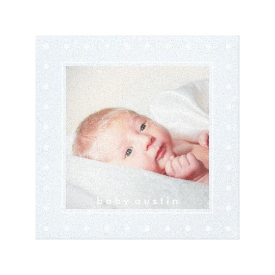 Soft Blue with White Polka Dots | Your Baby Photo Canvas Print
