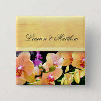 Soft buttercream orchid design 2 inch square button