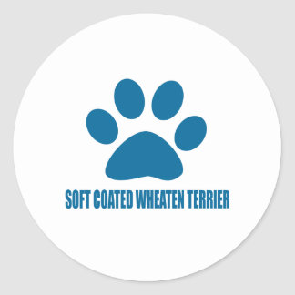SOFT COATED WHEATEN TERRIER DOG DESIGNS CLASSIC ROUND STICKER