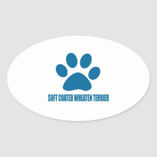 SOFT COATED WHEATEN TERRIER DOG DESIGNS OVAL STICKER