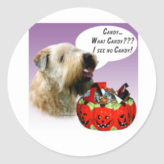 Soft Coated Wheaten Terrier Halloween Candy Classic Round Sticker