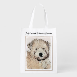 Soft-Coated Wheaten Terrier Puppy Painting Dog Art Reusable Grocery Bag