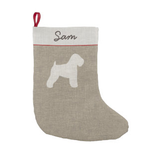 Soft Coated Wheaten Terrier Silhouette with Text Small Christmas Stocking