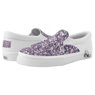 Soft Color Glitter Texture Print Slip-On Sneakers