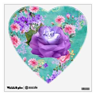 Soft Colorful Flowers Lavender Diamond Rose Wall Sticker