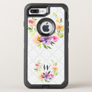 Soft Colors Floral Wreath & White Background OtterBox Defender iPhone 7 Plus Case