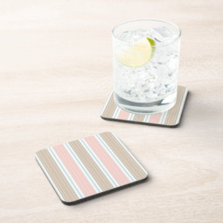Soft Coral Aqua & Tan on White Shabby Chic Stripes Drink Coasters