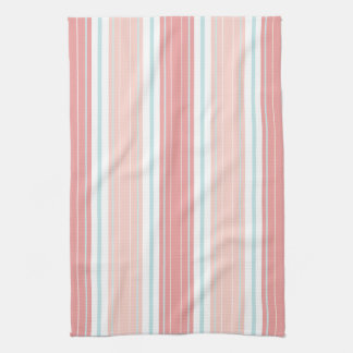 Soft Coral Aqua & Tan on White Shabby Chic Stripes Kitchen Towel