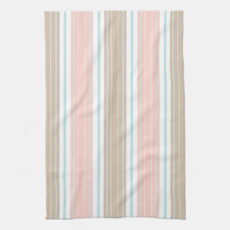 Soft Coral Aqua & Tan on White Shabby Chic Stripes Kitchen Towels