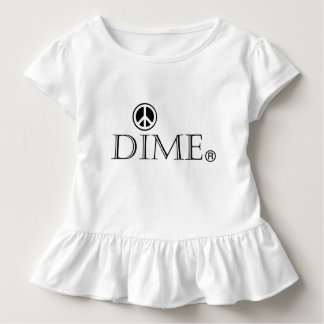 Soft cotton dime peace ruffled tee. toddler t-shirt