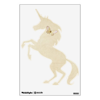 Soft Cream Papers Rearing Unicorn with Butterfly Wall Decal