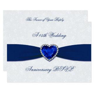 Soft Damask 45th Wedding Anniversary RSVP Card