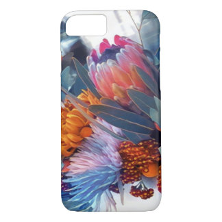 Soft, delicate, floral blue & orange iPhone 7 case