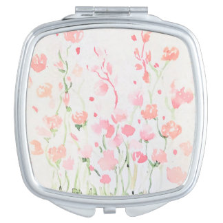 Soft Delicate Pink and Green Watercolor Flowers Makeup Mirror
