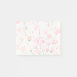 Soft Delicate Pink and Green Watercolor Flowers Post-it Notes