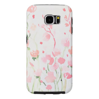 Soft Delicate Pink and Green Watercolor Flowers Samsung Galaxy S6 Case