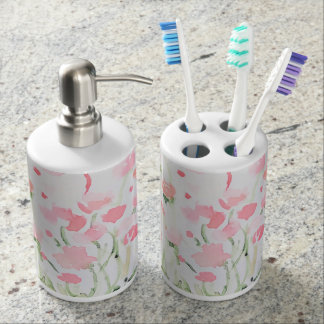 Soft Delicate Pink and Green Watercolor Flowers Soap Dispenser And Toothbrush Holder