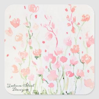 Soft Delicate Pink and Green Watercolor Flowers Square Sticker