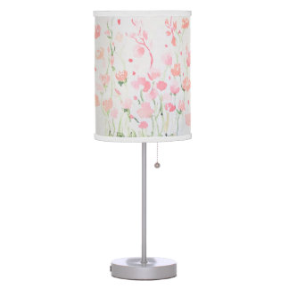 Soft Delicate Pink and Green Watercolor Flowers Table Lamp