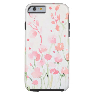 Soft Delicate Pink and Green Watercolor Flowers Tough iPhone 6 Case