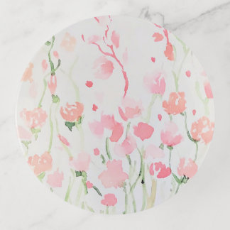 Soft Delicate Pink and Green Watercolor Flowers Trinket Trays