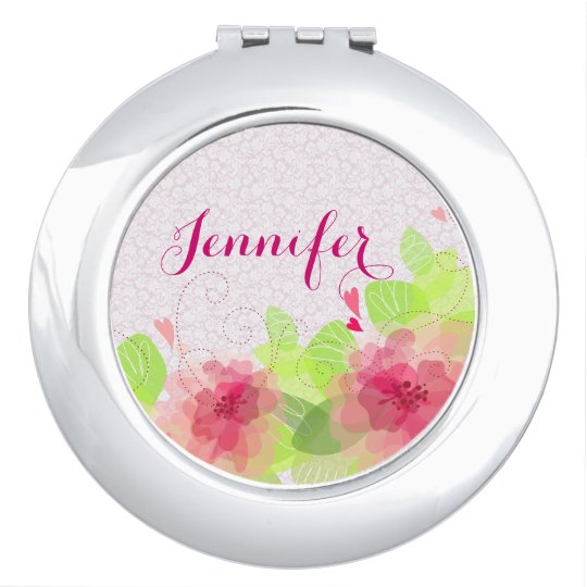 Soft Dreamy Colourful Spring Flower Monogram Compact Mirrors