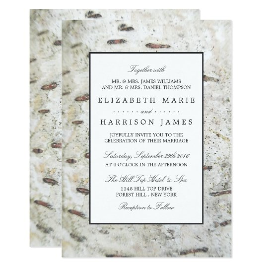 Soft Edged White Wood Wedding Card