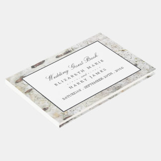 Soft Edged White Wood Wedding Guest Book