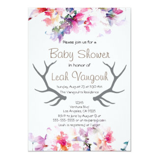 Soft Floral & Antler Baby Shower Invitation