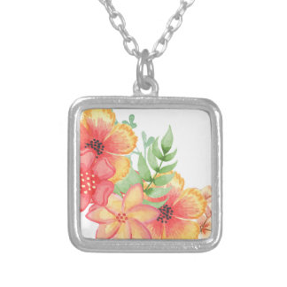 Soft Floral Silver Plated Necklace