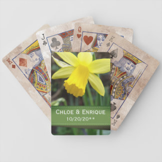 Soft Focus Daffodil Personalized Wedding Bicycle Playing Cards