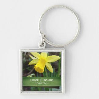 Soft Focus Daffodil Personalized Wedding Keychain