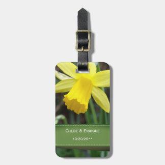 Soft Focus Daffodil Personalized Wedding Luggage Tag