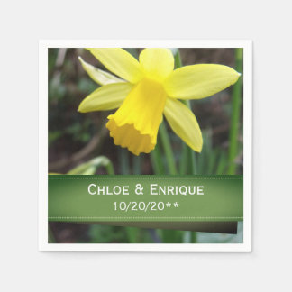 Soft Focus Daffodil Personalized Wedding Paper Napkin