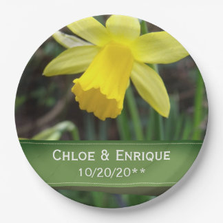 Soft Focus Daffodil Personalized Wedding Paper Plate