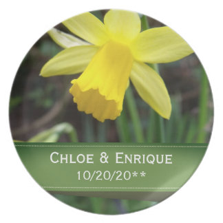 Soft Focus Daffodil Personalized Wedding Plate