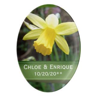 Soft Focus Daffodil Personalized Wedding Porcelain Serving Platter