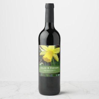Soft Focus Daffodil Personalized Wedding Wine Label