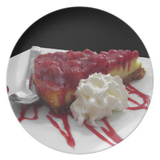 Soft fruits cheesecake with fresh berries dinner plate