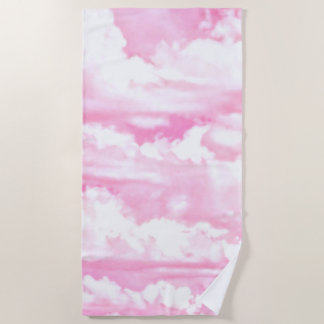 Soft Fuchsia Pink Girly Clouds Background on a Beach Towel
