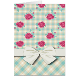 soft gingham plaid and shabby roses pattern card