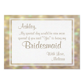 Soft Gold Bokeh Lights Will You Be My Bridesmaid 5x7 Paper Invitation Card