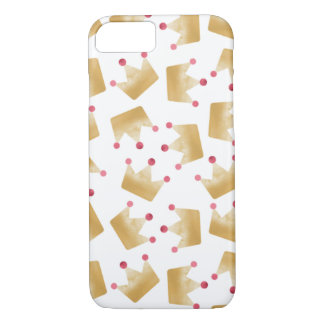 Soft Gold Gradient Princess Crown Pattern iPhone 8/7 Case