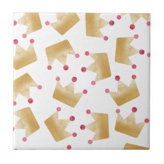 Soft Gold Gradient Princess Crown Pattern Tile
