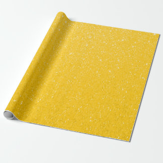 Soft Golden Yellow Glitter Print Wrapping Paper