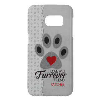 Soft Gray, Black and Red Heart Cat Lover Samsung Galaxy S7 Case
