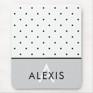 Soft Gray with Black and White Polka Dots Mouse Pad